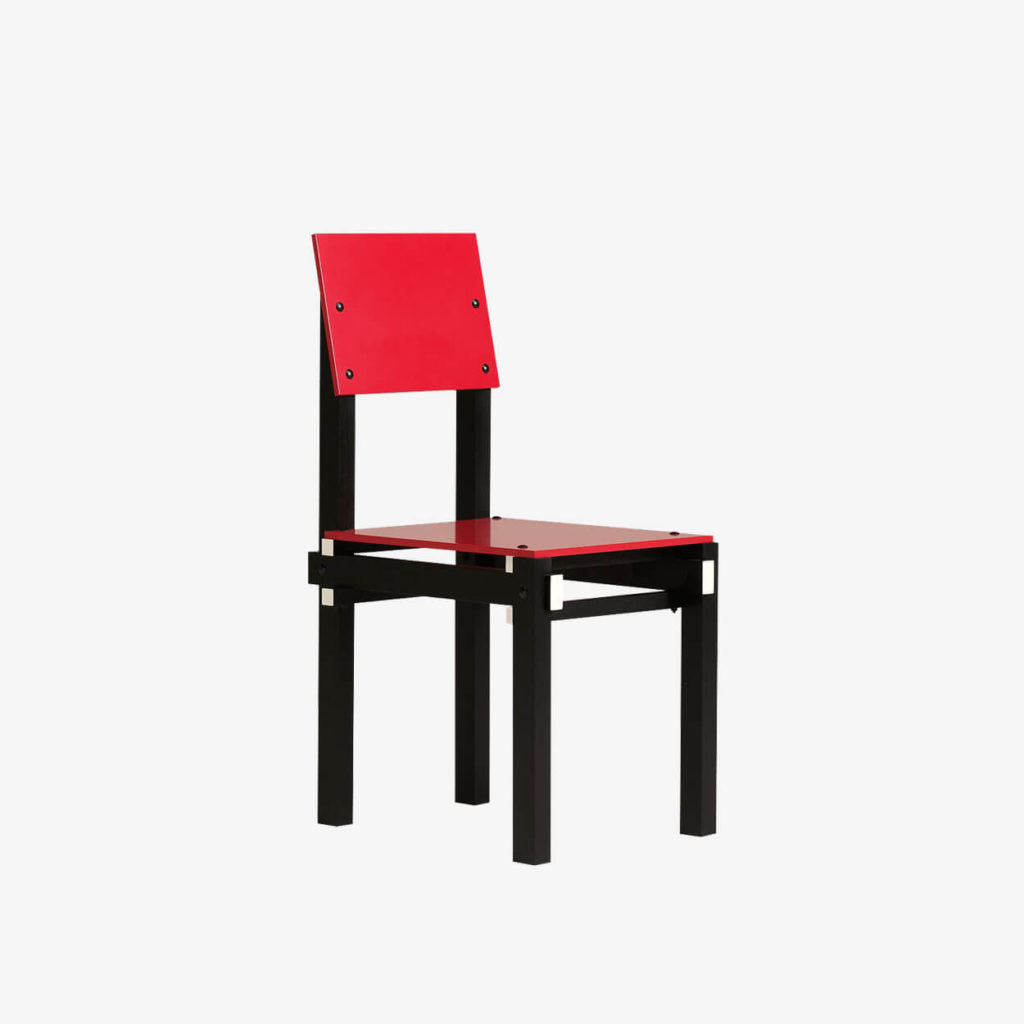 Black frame with red seat and back
